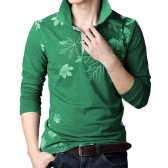 Fashion Casual Men T-shirt Maple Leaf Print Long Sleeves Turn Down Collar Slim Tops
