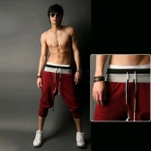 Europe Fashion Men Pants Loose Casual Sport Trousers Tie Belt Splicing Fitted Cuffs Sweatpants