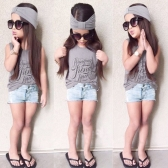 Fashion Kids Baby Girls Three-Piece Set Outfits Print Crew Neck Sleeveless Headband T-Shirt Jeans Pants Grey