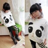 Fashion Children Girls Clothing Set Panda Batwing Sleeve Pullover Tops Striped Bowknot Leggings White