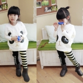 Fashion Children Girls Clothing Set Panda Batwing Sleeve Pullover Tops Striped Bowknot Leggings White