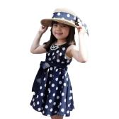 New Fashion Kids Girls Dress Polka Dot Print Back Zipper Crew Neck Sleeveless Tie Waist Princess Dress Dark Blue/White