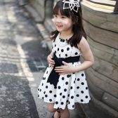 New Fashion Kids Girls Dress Polka Dot Print Back Zipper Crew Neck Sleeveless Tie Waist Princess Dress Dark Blue/White