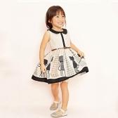 Sweet Girls Dress Turndown Collar Sleeveless Button Cat Dot Printed Mesh Belt Children One-piece Dress Beige