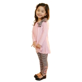 New Fashion Kids Girls Clothing Set Bowknot Pullover Tops Striped Pants Pink/Dark Blue