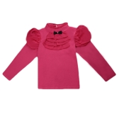 Fashion Kids Girl Cotton T-Shirt Bowknot Turtleneck Neck Ruffle Chiffon Long Sleeve Button Casual Tee Top