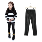 New Kids Girls Stretchy Leggings Faux PU Leather Elastic Waist Skinny Pants Trousers Black