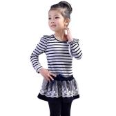 Fashion Kids Girl Dress Striped Ruffle Lace Bowknot Mesh Floral Round Neck Long Sleeve Princess Dresses Dark Blue/Coffee