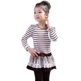 Fashion Kids Girl Dress Striped Ruffle Lace Bowknot Mesh Floral Round Neck Long Sleeve Princess Dresses Dark Blue/Coffee