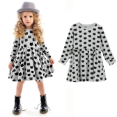 Fashion Kids Girl Dress Animal Print Round Neckline Long Sleeve Mini Dress Grey