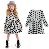 Fashion Kids Girl Dress Animal Print Round Neckline Long Sleeve Mini Dress Grey