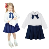 Fashion Children Girl Dress Bowknot Button Fastening Turn-Down Collar Long Sleeve Dress White