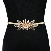 Fashion Women Lady Gold Metal Chain Belt Flower Embellishment Elastic Waist Strap Belt All-Match Cummerbund Gold