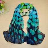 New Women Chiffon Scarf Polka Dot Circle Print Gradient Color Long Shawl Pashmina Beach Wrap