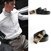 Luxury Fashion Men PU Leather Belt Buckle Fastening Leopard Pattern Business Belt Black