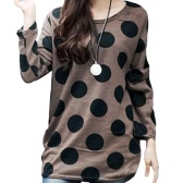 Korean Fashion Women Slouchy T-shirt Polka Dot Round Neck Knitted Long Shirt Pullover Tops Coffee