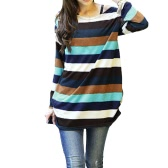 Korean Fashion Women Slouchy T-shirt Colorful Stripes Knitted Long Shirt Pullover Tops Multicolor