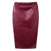 Europe Sexy Women Skirt PU Leather Solid Color Midi Pencil Skirts OL Casual Slim Clubwear
