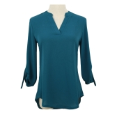 New Women Chiffon Blouse V Neck D-Ring Tab Long Sleeves Shirt Casual Top