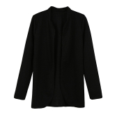 Women Open Front Striped Long Sleeve Cardigan OL Overcoat Blazer Jacket Coat Black/Rose/Yellow