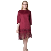 Chic Women Faux Suede Round Neck Zipper Back Tassel Hem Flapper Shift Dress