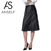 New Fashion Women Mid Skirt PU Leather Hight Waist Beading Decoration Zipper Fastening Slim Fit Black