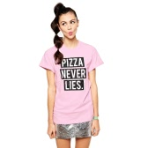 New Fashion Women T-shirt Contrast Letters Print Round Neck Short Sleeve Loose Fit Casual Tops Pink