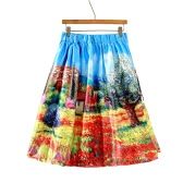 Fahion Women Midi Skirt Rural Printing Pleated Zipper Elegant A-Line Ball Gown Skirt Blue