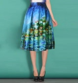 Vintage Castle Oil Painting High Waist A-Line Midi Bubble Skirt for Women