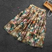 Vintage Floral Print High Waist A-line Pleated Midi Skirt for Women