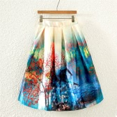 Vintage Oil Painting Print High Waist A-line Lined Midi Skirt for Women