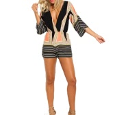 Sexy Women Jumpsuit Stripe Print Plunge V Neck Bell Sleeve Elastic Waist Beach Playsuit Rompers Black