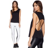 Sexy Women Top Round Neck Sleeveless Hollow Out Spaghetti Strap Backless Tank Top T-Shirt Black