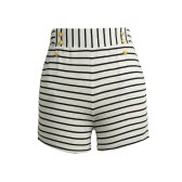 Women Shorts Summer Striped Shorts High Elastic Waist Ladies Casual Pants Black/White