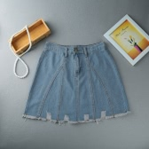 Women Mini Denim Skirt A-Line High Waist Distressed Raw Hem Front Zipper Short Jean Blue/Dark Blue