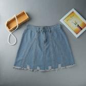 Women Mini Denim Skirt A-Line High Waist Distressed Raw Hem Front Zipper Short Jean Blue/Dark Blue