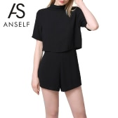 New Fashion Women Jumpsuit Cut Out Back Turtleneck Short Sleeve Solid Casual Loose Playsuit Rompers Culotte Black