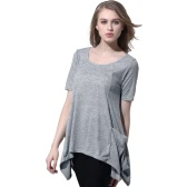 New Fashion Women Knitting Overtop O-Neck Short Sleeves Pockets Asymmetric Hem Casual Pullover Top Grey