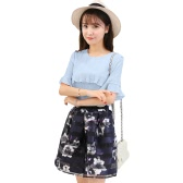 New Fashion Women Two-Piece Set Ruffles Flare Sleeve Chiffon Top's Mesh Flower Print Strap Splicing Sweet Two-piece Suit Dress Pink/Blue