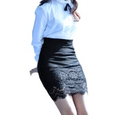 Women Crochet Lace Skirt Elastic Waist Hollow Out Work Career Mini OL Skirt Black