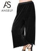 New Fashion Women Loose Pleated Pants Wide Leg Elastic Waist Ruffled Hem Casual Flared Trousers Black