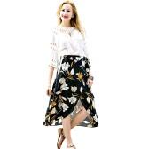 Fashion Women Chiffon Skirt Vintage Floral Print Asymmetric Hem Button Closure Belt Lining Midi Skirt Black