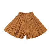 New Women Pleated Divided Skirts Wide Leg Pants Elastic High Waist Casual A-Line Pantskirt Culottes Red/Black/Khaki