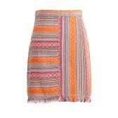 Fashion Women Mini Skirt Vintage Jacquard Striped Tassel Back Zipper High Waist Ethnic Bodycon A-Line Skirt Red/Orange