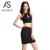 Sexy Women Two-Piece Set Cut Out Front Halterneck Lace Panel Zipped Side Crop Tank Top Bodycon Pencil Skirt Set Black