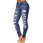 Fashion Women Denim Destroyed Skinny Jeans High Waist Stretchy Ripped Hole Pencil Pants Trousers Blue