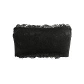 Women Lace Wireless Bra Bandage Padded Strapless Adjustable Back Thin Breathable Bra Crop Top Brassiere Underwear Black/White