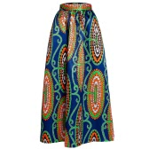 New Women Skirt African Print Ankara Dashiki Bohemian High Waist Pleated A-Line Maxi Flare Skirt