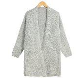 New Women Knitted Cardigan Loose Solid Open Front Pockets Long Sleeves Casual Outerwear Coat Grey