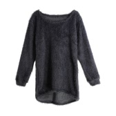 New Women Fluffy Knitted Sweater O-Neck Dip Hem Long Sleeves Casual Warm Pullover Tops